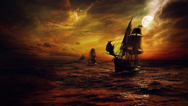 Okręt piracki na morzu